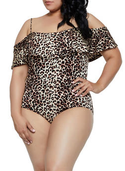 Plus Size Animal Print Off the Shoulder Bodysuit - 0911054261329