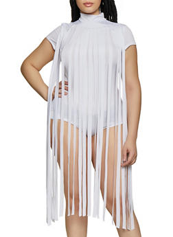 Plus Size Fringe Bodysuit - 0911062121775