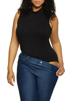 Plus Size Mock Neck Bodysuit - 0911062124134