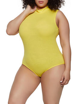 Plus Size Mock Neck Bodysuit - 0911062124134