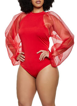 Plus Size Organza Sleeve Bodysuit - 0911062127488