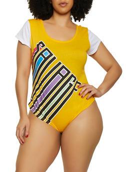 Plus Size Savage T Shirt Bodysuit - 0911063402896