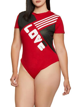 Plus Size Love T Shirt Bodysuit - 0911063402901