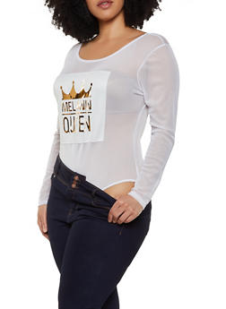 Plus Size Melanin Queen 3D Patch Mesh Bodysuit - 0911074287144