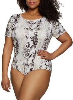 Plus Size Snake Print Tee Bodysuit - 0911074288023