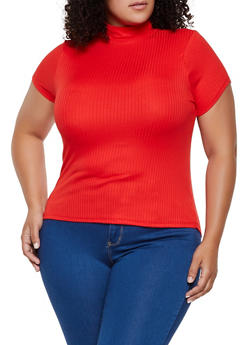 Plus Size Rib Knit Mock Neck Top - 0912001448793