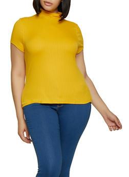 Plus Size Rib Knit Mock Neck Top - 0912001448793