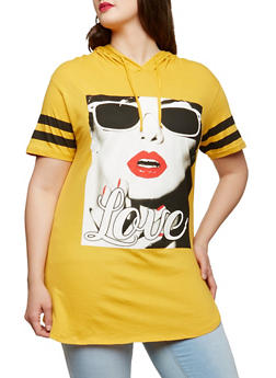 Plus Size Love Graphic Hooded T Shirt - 0912033870028