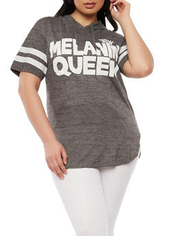 Plus Size Queen Graphic Hooded T Shirt - 0912033871715