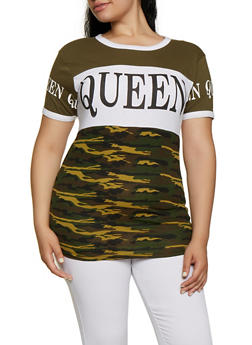 Plus Size Queen Camo Color Block Tee - 0912033872168