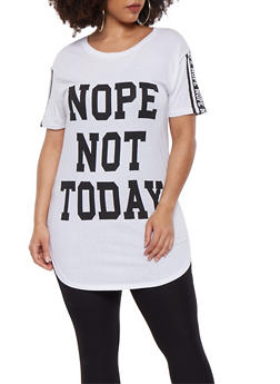Plus Size Nope Not Today Graphic Tee - 0912033874288