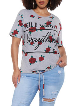 Plus Size Floral Graphic Tie Front Tee - 0912033874885