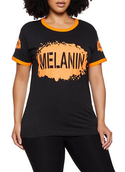 Plus Size Melanin Contrast Trim Tee - 0912033875539