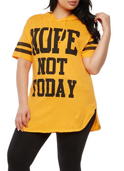 Plus Size Nope Not Today Hooded T Shirt - 0912033878130