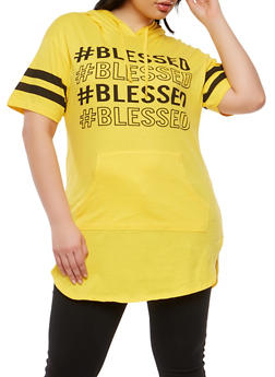 Plus Size Blessed Graphic Hooded T Shirt - 0912033878479