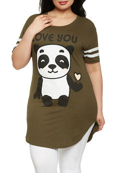 Plus Size Panda Graphic Tunic Tee - 0912033878695