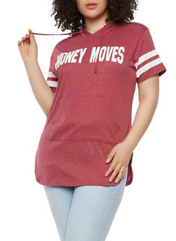 Plus Size Money Moves Graphic Hooded T Shirt - 0912033878849