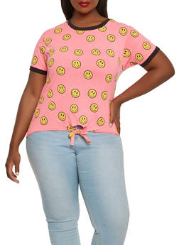Plus Size Smiley Face Tie Front Tee - 0912033879135