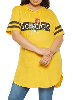 Plus Size Savage Graphic Hooded Tunic Tee - 0912033879799