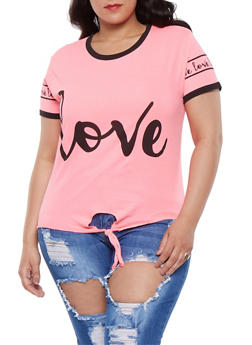 Plus Size Graphic Tie Front Tee - 0912033879875