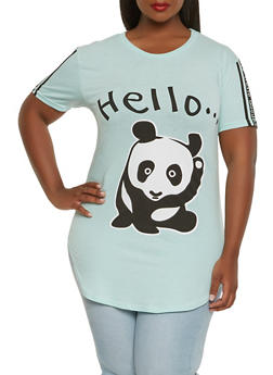 Plus Size Panda Graphic Tee - 0912033879928