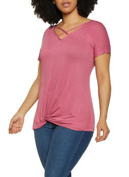 Plus Size Twist Front Caged Tee - 0912038343251