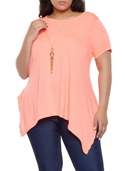 c7a44e595d24d Plus Size Asymmetrical Tee with Necklace