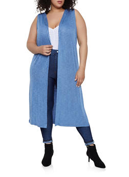 Plus Size Rib Knit Hooded Duster - 0912038349147