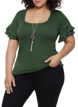 Plus Size Tiered Sleeve Top with Necklace | 0912038349251 - 0912038349251