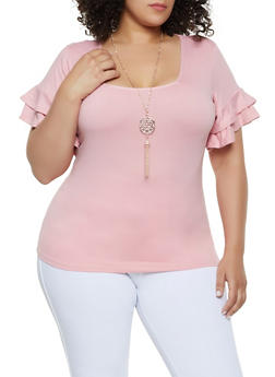 cf3e45ec5d92dc Plus Size Tiered Sleeve Top with Necklace | 0912038349251 - 0912038349251