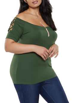 6fa5ad3981ff Plus Size Caged Off the Shoulder Top with Necklace - 0912038349264