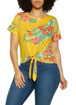 Plus Size Printed Tie Front Tee | 0912038349319 - GOLD - 0912038349319
