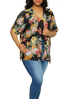 Plus Size Printed Open Front Cardigan - Black - 0912038349360