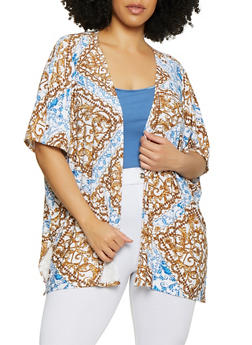 Plus Size Printed Cardigans