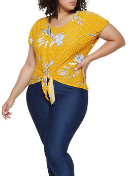 Plus Size Printed Tie Front Top | 0912038349361 - 0912038349361