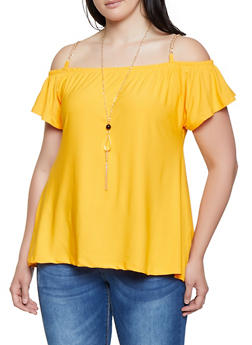 Plus Size Chain Strap Off the Shoulder Top with Necklace - 0912038349372