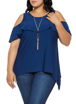 Plus Size Sharkbite Cold Shoulder Top with Necklace - 0912038349373