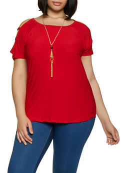 Plus Size Caged Sleeve Top with Necklace | 0912038349374 - 0912038349374