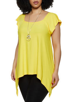 Plus Size Sharkbite Hem Top with Necklace - 0912038349375