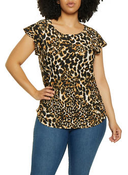 Plus Size Printed Flutter Sleeve Tops