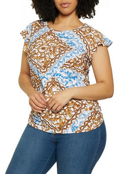 Plus Size Printed Flutter Sleeve Top - 0912038349379