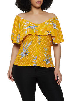 Plus Size Printed Off the Shoulder Top - 0912038349380