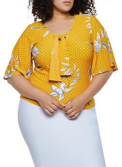 Plus Size Printed Tie Neck Top - 0912038349398