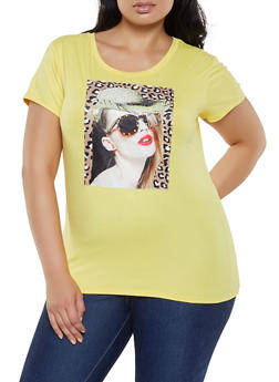 Plus Size Studded Graphic Patch Tee - 0912043393824
