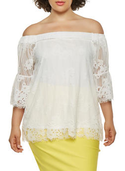Plus Size Lace Off the Shoulder Top - 0912051066042