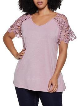 Plus Size Crochet Yoke Short Sleeve Top - 0912051066369