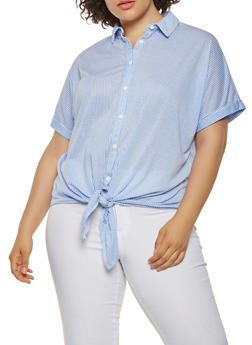 Plus Size Striped Button Front Shirt - 0912051066519