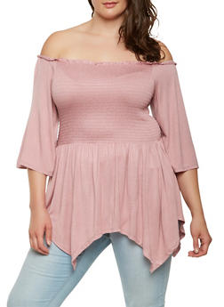Plus Size Off the Shoulder Smocked Top - 0912051066652
