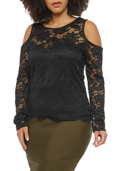 Plus Size Lace Cold Shoulder Top - 0912054260410