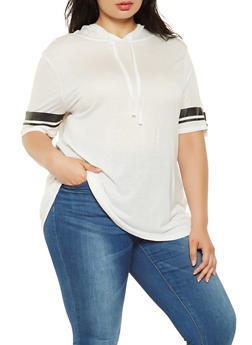 Plus Size Hooded Tunic Top - 0912054260519